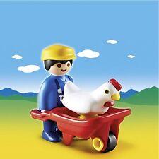 BNIB Playmobil 6793 1.2.3 FARMER WITH WHEELBARROW and CHICKEN Made in Malta