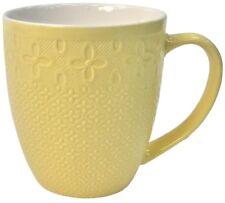 Set of 6 Yellow Ceramic Large Mugs Coffee & Tea Mugs 400ml Soup mugs Textured