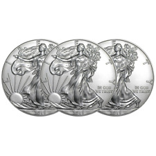 (3) - 2018 1 OZ. SILVER EAGLE $1 COINS - BRILLIANT UNCIRCULATED FROM MINT ROLL
