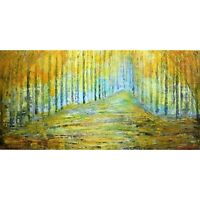 Golden FOREST Yellow Trees Landscape Fall Abstract Original Painting Large Art