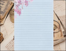 Blue w/ Pink Flowers Lined Writing Paper Set 25 sheets & 10 envelopes 8.5 X 11