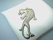 """Huge 3-D Sterling Silver .925 Big Cat Tiger Panther Pendant 1-15/16"""" Signed """"PK"""""""