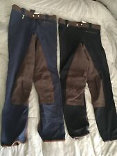TWO PAIRS SCHOELLER SUMMER WEIGHT SEAT BREECHES SIZE 28 BLUE BLACK BROWN