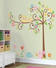 Colourful Cut Owls Sit on the Tree Animals Children's Room Wall Sticker