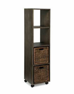 Creden-ZzZ Rolling Bookcase Tower with Baskets, Ash
