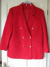 LADIES RED WOOL/CASHMERE COAT SIZE 14