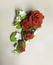 Red Rose Sugar Flower Anniversary Wedding Cake Spray Topper Bridal