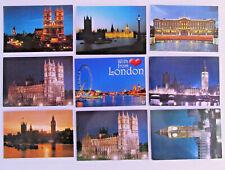 LONDON by Night 9 x Nacht- Abend-Ansichten Postkarten Lot ungelaufen England