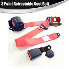 Red Adjustable Seat Belt Car Truck Lap Belt Universal 3 Point Safety Travel