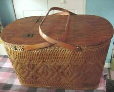 Vintage REDMON Wicker & Metal handled Picnic~Picknick~Piknik BASKET
