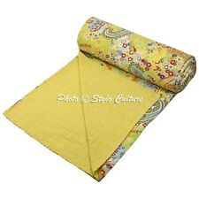 Indian Quilt Queen Cotton Printed Bedding  Paisley Kantha Quilt Coverlet