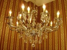SILVER NICKEL CRYSTAL CHANDELIER GLASS CEILING LAMP 15 LIGHTS USED DECOR OLD