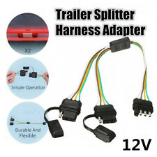 Truck Trailer Flat 4-Way 4 Pin Y-Splitter Harness Adapter LED Tailgate Light Bar