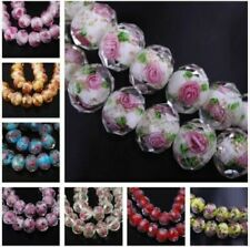 10pcs Charms Rondelle Glass Rose Flower Lampwork Glass Beads 8 10 12mm #G