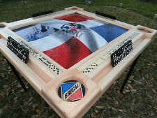 Domino Tables by Art with Bandera Dominicana and Brugal Cupholders