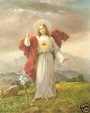 "Catholic Print Picture SACRED HEART JESUS Simeone art 8x10"" ready to frame"