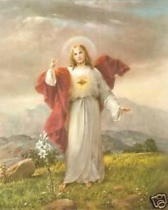 "Catholic Print Picture SACRED HEART JESUS Simeone art 8x10"" ready to frame"