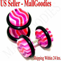 1149 Fake Faux Cheaters Illusion Ear Plugs 16G Wavy Stripes Pink Red 0G