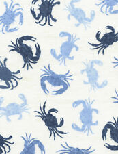 Fabric Seaside Crabs on White Cotton by the 1/4 yard BIN