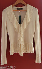 NWT Ralph Lauren Black Label Ruffle Front Cardigan White Sweater Knit Top M $998