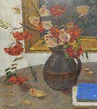 G.Shponko. Original Soviet Oil Painting. Still Life with Rowan. Collectible Art.
