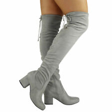 Womens Ladies Thigh High Over The Knee BOOTS Lace up Long Low Heel Shoes Size UK 6 / EU 39 / US 8 Grey