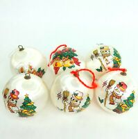 Christmas Bauble Ball ornament decoration Faux silk Nylon White Bulk Vintage