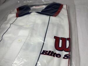 NEW Unopened Wilson Elite Staff Tennis Vintage Rare Trainer Shirt Med PINSTRIPE