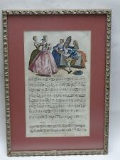 "RARE 1737 HAND COLORED ENGLISH ENGRAVING SHEET MUSIC ""ON BEAUTY"""