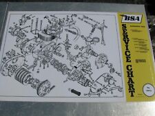 BSA 441cc B44 victor engine exploded view laminated 18x28 service chart poster