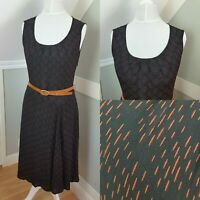 Monsoon Black/Orange Midi Dress Size 8/10 Round Neck Sleeveless 40s