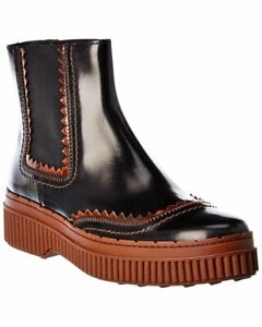 Tods Leather Chelsea Boot Women's Black 34.5