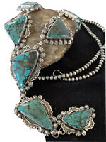 """XL LARIAT Navajo Sterling SILVER Spiderweb TURQUOISE Necklace Pendant 31""""01335"""