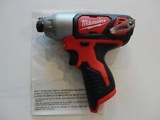 "MILWAUKEE 2462-20 M12 12V 12 Volt Li-Ion 1/4"" Cordless  Hex Impact Driver Tool"