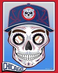 2 Chicago Cubs Sugar Skull Waterproof Vinyl Stickers 5x3.75 Car Decal
