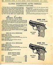 1965 Print Ad of Llama Executive Model XVIII .25 & XVII .22 Auto Pistol