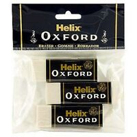 Helix Oxford Jumbo Large Sleeved Plastic Rubber Erasers - Pack Of 3