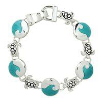 "Silver Finish Aqua Blue Ocean Wave Enamel Link Bracelet Magnetic Clasp 7""L 1/2""W"
