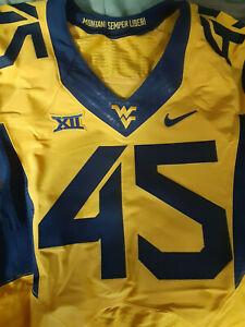 West Virginia Mountaineers Game Used Football gold Jersey Fanatics COA