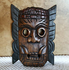 "Tribal Head Wall Mask Hand Carved Wood 8"" x 6"""