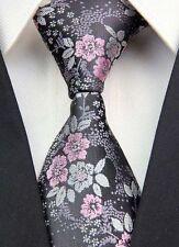 Mens Tie Wedding Necktie SALE Black Silver Grey & Pink Floral Paisley Silk ET9