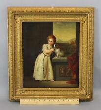 16thC Antique 1547 O/C Portrait Oil Painting Young Girl King Charles Spaniel Dog