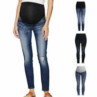 New Pregnant Woman Ripped Hole Slim Jeans Pants Trousers Belly Support Legging