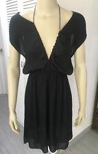 ISABEL MARANT ETOILE Black Silky Drapey Cords Dress 38 UK10
