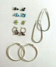 Sterling Silver Hoop Earrings Gemstone Charms SB Turquoise Garnet 15g 925 #596
