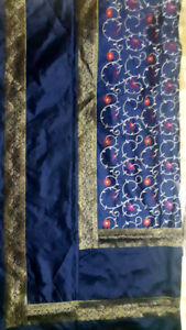 Banarasi Bedspreads Indian Embroidery Pure Silk Brocade Work Bed sheet Navy Blue