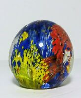 Hand Blown Glass Murano Art Style Aquarium Paperweight Sculpture Bubbles