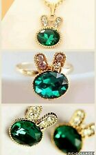Gold Plated 3 Piece Rabbit Sea Green Crystal Pendant Necklace Ring Earrings Set
