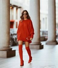 ZARA TALL RED ELASTIC BOOTS UK 4 EUR 37 BLOGGERS NOW SOLD OUT GENUINE BNWT