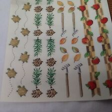 Autumn Leaves  Apple Turtles Pine COne Borders Scrapbooking Craft Stickers